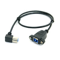 USB 3.0 Back Panel Mount B Type Female To 90D Right Angled  B Type Male Cable