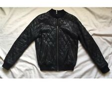 TOPSHOP QUILTED 100% GENUINE LEATHER CROPPED MOTO BOMBER JACKET US 4 UK 8 EU 36