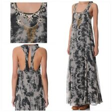 TOPSHOP Long Embellished Grey Maxi Summer Racerback Dress **NEW Size 6  RRP $130