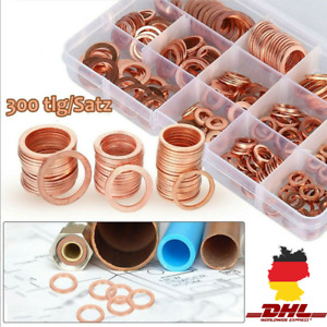300x Kupferringe Dichtring Sortiment Set Kupfer Dichtungen Ölablaßschrauben Box