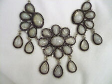 Antiqued silver tone statement bib necklace  marble grey cabochons & rhinestones