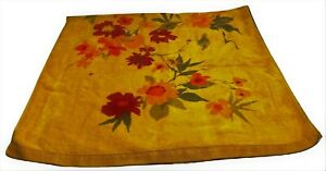 """Bath Towel 47""""x24"""" Orange Floral Vintage Retro Mid Century"""