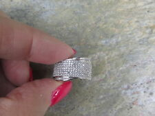 Sterling Silver Wide Pave CZ Cigar Band Wide Ring Size 8 NEW Multi Level