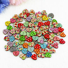 100 Vivid Colorful Heart Shaped 2 Holes Wood Sewing Scrapbooking Knopf Buttons