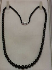 Antique Black Green Pearl Necklace, 3.2mm-6.4mm Graduated, 18in., 10kwg clasp