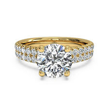 1.40 Carat Round Solitaire Diamond Ring 14K Real Yellow Gold Ring Size N O P
