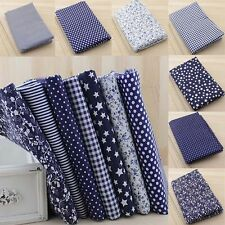 "100% Cotton 7 Assorted Pre Cut Charm 10"" Squares Quilt Fabric Quarters Blue JF"