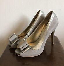 Nine West UK4 Gray Suede & Leather Peep Toe Shoes Used