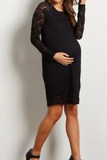 BN#2 PINK BLUSH MATERNITY Black Lace Rosette Overlay Fitted Dress LARGE NEW