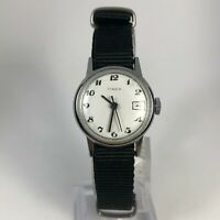 Read Vintage Timex Womens Black Nylon Band Wind Up Analog Wristwatch