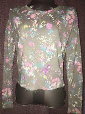 NWT Ladies Juniors Thin Knit Sweatshirt, Gray & Pastel Flowers by Arizona Size S