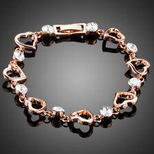 18K Gold GP Made With Swarovski Crystal Elements Rose Heart Bead Bangle Bracelet