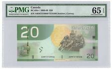 ✪ 2008-09 $20 Bank of Canada Note Mismatched Serial Error - PMG Gem UNC-65 EPQ