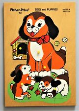 Vintage '70s Fisher Price 511 Dog & Puppies 8 Piece Wood Puzzle Age 2-5