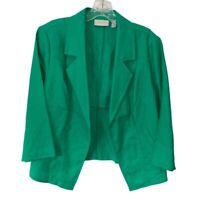 Chicos Womens Suit Jacket Green Linen Pocket 3/4 Sleeve Open Front Blazer M/8-10