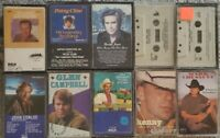 Lot of 10 Country Music Cassette Tapes plus bonus Will Rogers tape -- Cline, etc