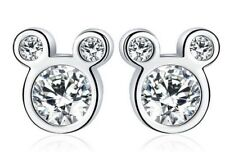 CZ Crystal Mickey Mouse Ears Stud Earrings 8x8mm & Gift Box