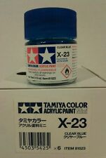 Tamiya acrylic paint X-23 Clear blue 10ml Mini.