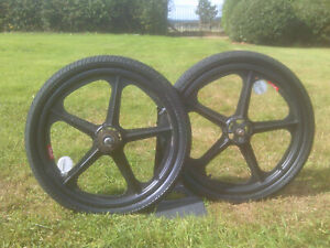 skyway tuff2 old school bmx wheelset black  c/w tyres