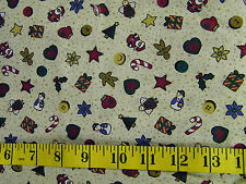 Tiny Holiday Print On Tan With Gold Stars 100% Cotton Fabric 17X43 Inches