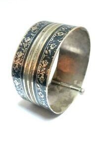 inked silver bracelet, with magnificent niello floral patterns designs