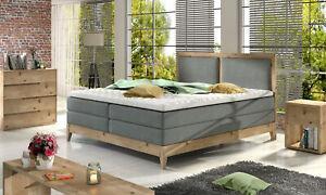 Box Spring Bed Hotel Solid Wood Double Luxusbett Designbett Grey Ricardo