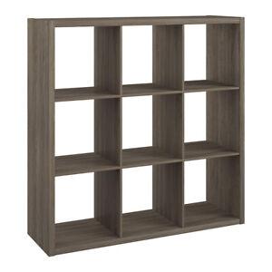 ClosetMaid Decorative Bookcase Open Back 9-Cube Storage Organizer, Graphite Gray
