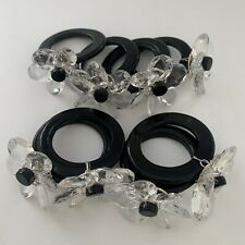New Pier 1 Glass Flower Napkin Rings Black & Clear Total of 8