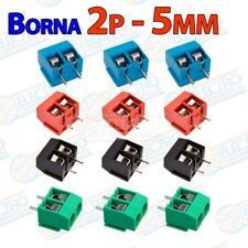 Lote 12 Terminal Borna Clema 2 pines 5mm 300v 16A enlazable - Arduino Electronic