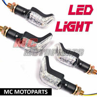 2 pairs Hook LED Motorcycle Turn Signal Light Amber Front Rear Tail Set
