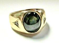 Solid 10K Yellow Gold Signet RING w/optical effect Green Stone & Diamonds sz 8.5