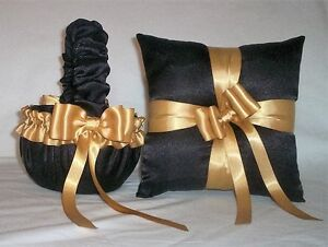 BLACK SATIN / GOLD TRIM FLOWER GIRL BASKET & RING BEARER PILLOW #4