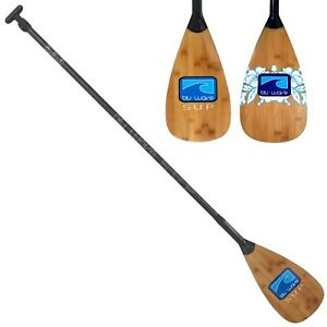 Adjustable SUP Paddle with carbon fibre blade & shaft – bamboo veneer on blade