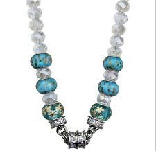 "KIRKS FOLLY VENETIAN FLOWER 17"" BEADED MAGNETIC NECKLACE silvertone / aqua"