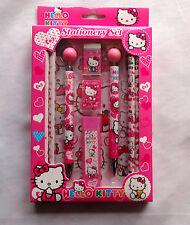 Hello Kitty Kids Stationary Set Pencil Eraser Sharpener Ballpoint Sticker Pink