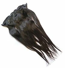 Gewellte dunkelbraune Echthaar-Verlängerungen in Mittellang Kunst