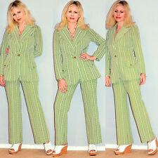 Vtg 70s Stripes Chevron Green White Hippie Disco Flare Pants Jacket dress suit