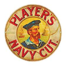 PLAYERS NAVY CUT  ROUND  TIN SIGN RUSTIC 35cm DIAMETER