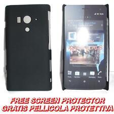 Pellicola+custodia BACK COVER rigida NERA per Sony Xperia acro S LT26W