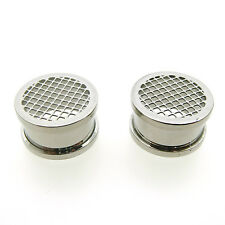"UNIQUE PAIR S. STEEL 5/8"" INCH (16MM) MESH FLESH TUNNELS PLUGS TUNNEL PLUG"