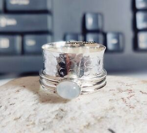 Moonstone Ring Spinner Ring 925 Silver Plated Handmade Ring Size 12.5 mo300