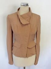 GUCCI NUDE SHADE SILK ZIP UP SIDE STRIPE JACKET SIZE 38 UK 10