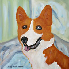 Bliss Art Print of Painting 8x8 Dog Corgi Collectible by Artist Pembroke Welsh