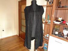 THE MASAI CLOTHING BLACK BOUCLE SLEEVELESS TIED SHRUG CARDIGAN-M,12-UK