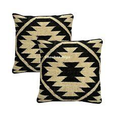 2 set Indian Vintage Jute Kilim Cushion Cover Decorative Rug Pillow Dorm 1065-BB