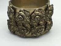 Vintage Boho Brass/Bronze Metal Hinged Detailed Floral Chunky Cuff Bracelet