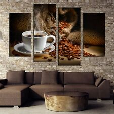 Modern Abstract Oil Painting Wall Decor Art Poster - Fragrant Coffee Beans 4pcs