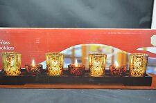 """7 Pcs Mercury Styled Glass Tea Light Candle Holder Mirrored Tray Aged Look 17""""H"""