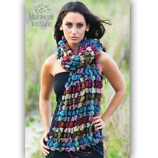Sevya Ruffled Jewel Silk Wool Fair Trade Hand Made Vintage Bohemian Scarf Wrap