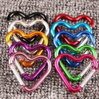 10Pcs Aluminum Hook Carabiner Heart Shape Key Chain Clip Keychain Hiking Camp US